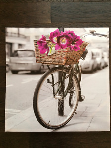 Canvas Picture - Bike & Flowers