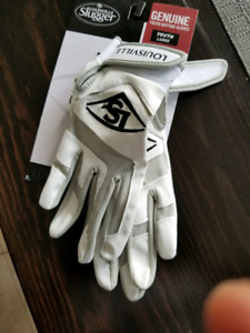 LARGE WHITE YOUTH BATTING GLOVES