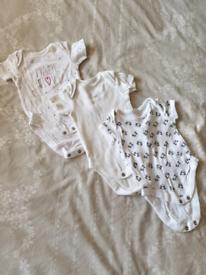 Bundle of 3x newborn 0-3 baby vests