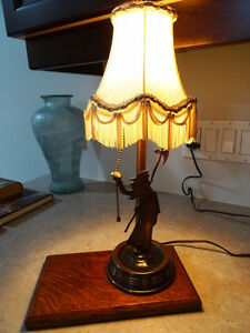 1930s COPPER FIGURAL LAMP charming MAN with AXE oak base CUPCAKE Kitchener / Waterloo Kitchener Area image 2