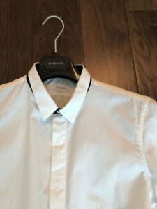 Jil Sander Black Under-collar Tuxedo Dress Shirt