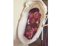 Moses basket fitted sheet and 2 mattresses