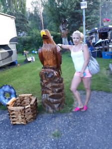 Hand carved bald eagle one of a kind