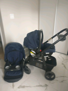 EUC Graco Click Connect Travel system - Blue