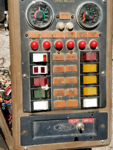 Old 80ies van console switches, guages, lights and relays