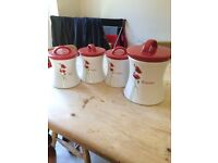Tea,sugar,coffee and biscuit canisters