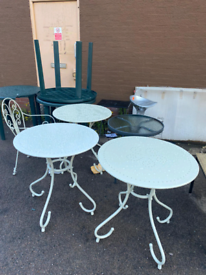 Garden Outdoor Round Metal Table £25 each. Platic £20. All kinds Fur.