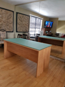 GLASS TOP DESK GOOD CONDITION