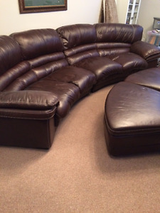 Leather Couch and Storage Ottomans