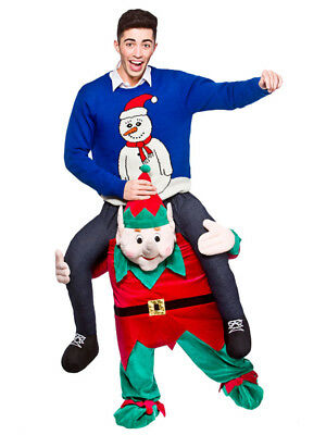 Carry Me Piggy Back Ride On Novelty Elf Mascot Fancy Dress Costume Christmas New (Piggy Back Elf Kostüm)