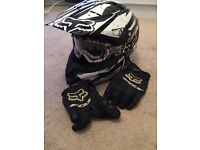 Fox raceing helmet with goggles&gloves