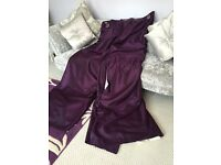 Purple fully lined faux silk curtains