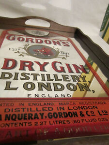 Vintage Wooden Bar Tray with Gordon's Dry Gin Mirror