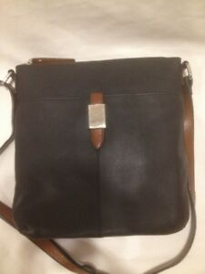 Ladies Black Genuine Leather Cross Body Bag from M&S Collections