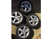 4x DEZENT alloy wheels with winter tyres 205/50/16. Mazda MX-5 plus other cars