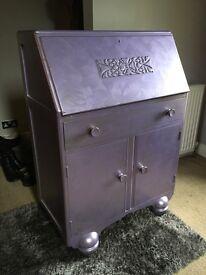 Jentique Art Deco/Vintage Style Writing Bureau in purple