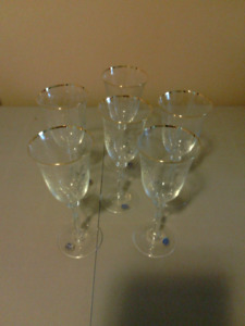 Bohemia Crystal Stemware -- Gold rim & Lightly Etched