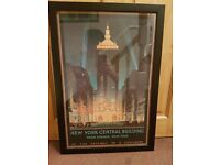 Art Deco print of New York Central Building - 1920's inspired- framed.