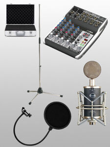 CAD trion 8000 + Behringer XENYX Q802USB + Mic stand+ Pop filter
