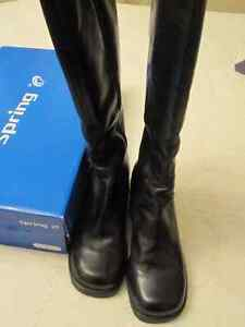 Bottes d'hiver  pour femme, en cuir noir 10
