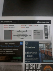 4 HAMILTON TIGER CAT TICKETS vs TORONTO ARGOS JUNE 1