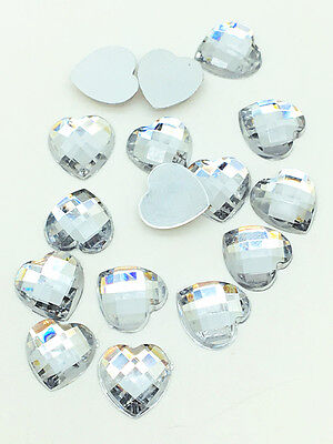 New 100pcs Resin Faceted Heart Crystal 10mm Flatback For DIY Phone Craft White 5