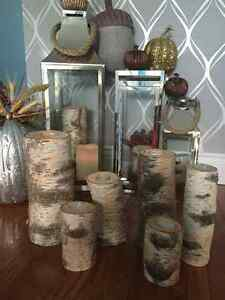 Real solid Birch pilar candle sets- Tall and short/ gorgeous! London Ontario image 3