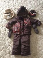 Boys snowsuit including hats and mitts