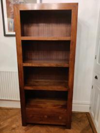Dark solid mango wood bookshelf