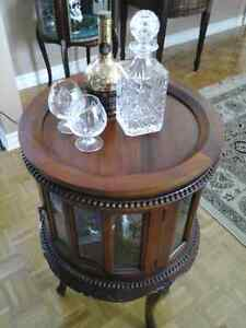Antique bar table with removable serving tray