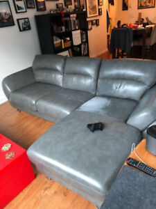 """Big cushy sectional """"pleather"""" couch - with storage!"""