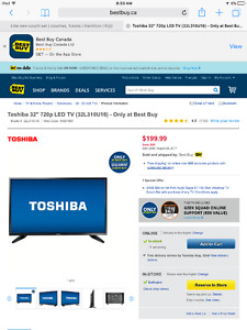 "Toshiba 32"" LED HDTV. Barely used"