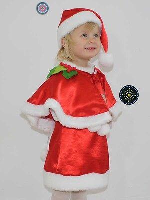 BABY GIRL LITTLE SANTA DRESS HAT CHRISTMAS RED FANCY OUTFIT COSTUME 6 M - 5 - Baby Little Santa Kostüm