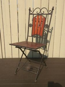 Wrought Iron+Wood Folding Chair - Patio, Balcony, Indoor,Outdoor