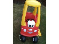 Play car made by little tikes with trailer