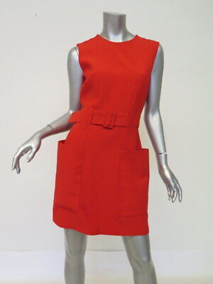 Alexander McQueen Dress Red Belted Crepe Size 44 Sleeveless Patch Pocket Mini