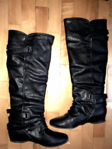 Tall, wide calf boots, worn once