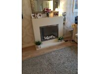 Fireplace for sale rug and mirror and light chandelier