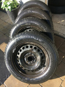 4 Michelin all season tires with steel rims from Honda civic