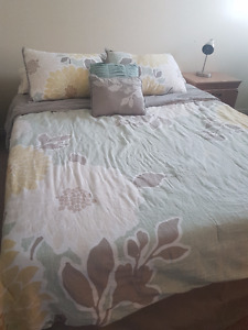 Queen size bed (mattress and frame)