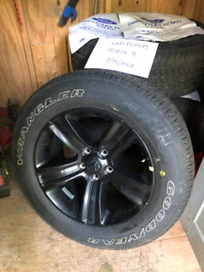 Brand New Ram 1500 Sport black wheels & Wrangler GSA tires