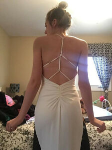 BACKLESS WHITE PROM DRESS
