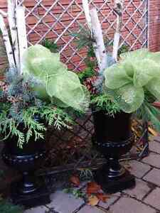 Two Cast Iron Holiday Urns / Planters