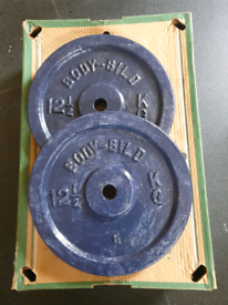Weight plates 2 x 12.5kg Cast Iron, 4 home gym fitness weight training