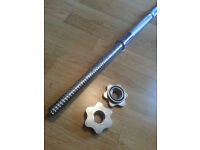 """New 4Kg Weighted Barbell Bar Chrome 66"""" + 2x 500g Chrome Spinlock Collars"""