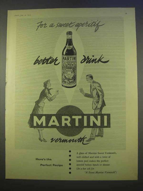 1955 Martini Vermouth Ad - For a Sweet Aperitif