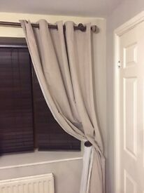 NEXT FAUX SUEDE EYELET NATURAL CURTAINS 168 x 229cm