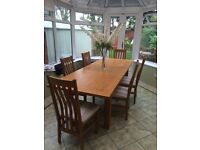 Solid Oak Extending Dining Table 6 Chairs