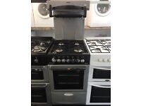BEKO 50CM HIGH LEVEL ALL GAS COOKER IN SILIVER.