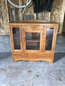 Antique solid maple hutch